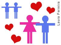 Ilustração de um casal de homens gays e de um casal de homem e de uma mulher